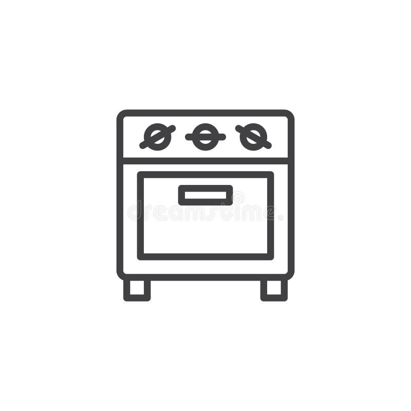 Linha pequena ícone do forno ilustração stock