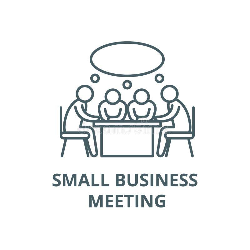 Linha pequena ícone do vetor da reunião de negócios, conceito linear, sinal do esboço, símbolo ilustração royalty free