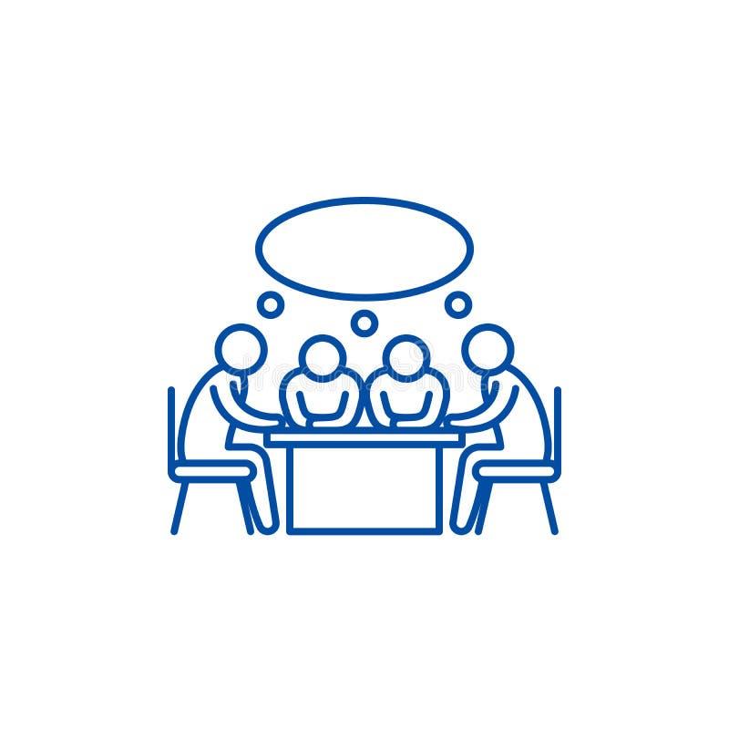 Linha pequena conceito da reunião de negócios do ícone Símbolo liso do vetor da reunião de negócios pequena, sinal, ilustração do ilustração stock
