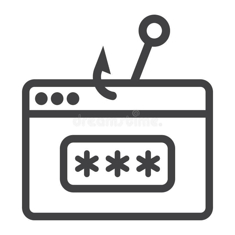 Linha phishing ícone, segurança e corte da senha ilustração stock