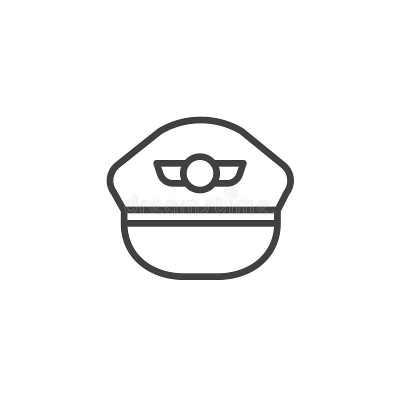 Linha piloto ícone do chapéu ilustração stock