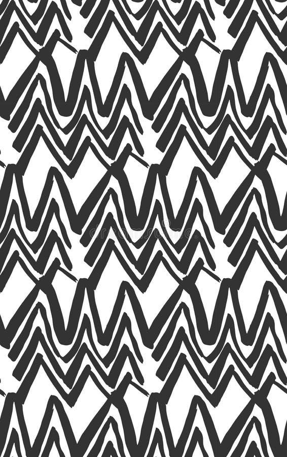Linha pintado à mão preto e branco sem emenda fundo concêntrico da tinta do vetor do sumário do teste padrão da forma do rombo ilustração stock