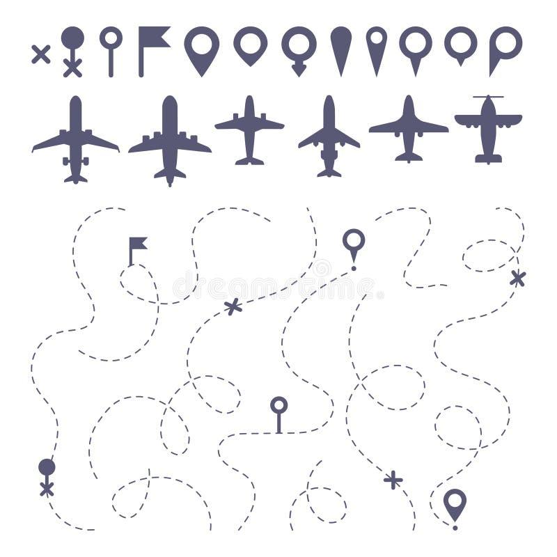 Linha plana da rota Os planos pontilharam a linha sentidos da fuga, construtor do mapa do sentido do caminho do voo e vetor dos í ilustração stock