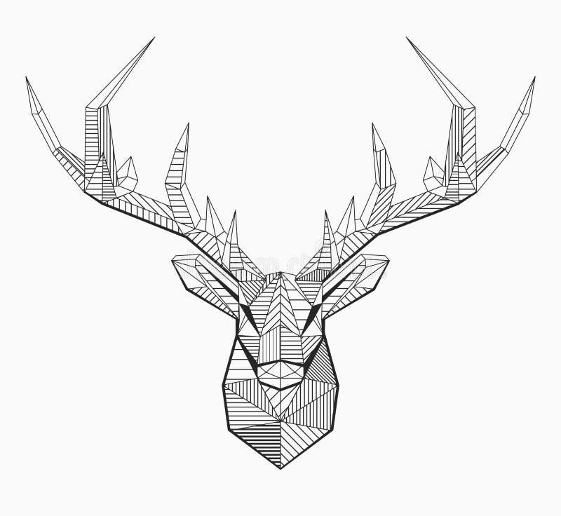 Linha poligonal cervo do vetor ilustração stock