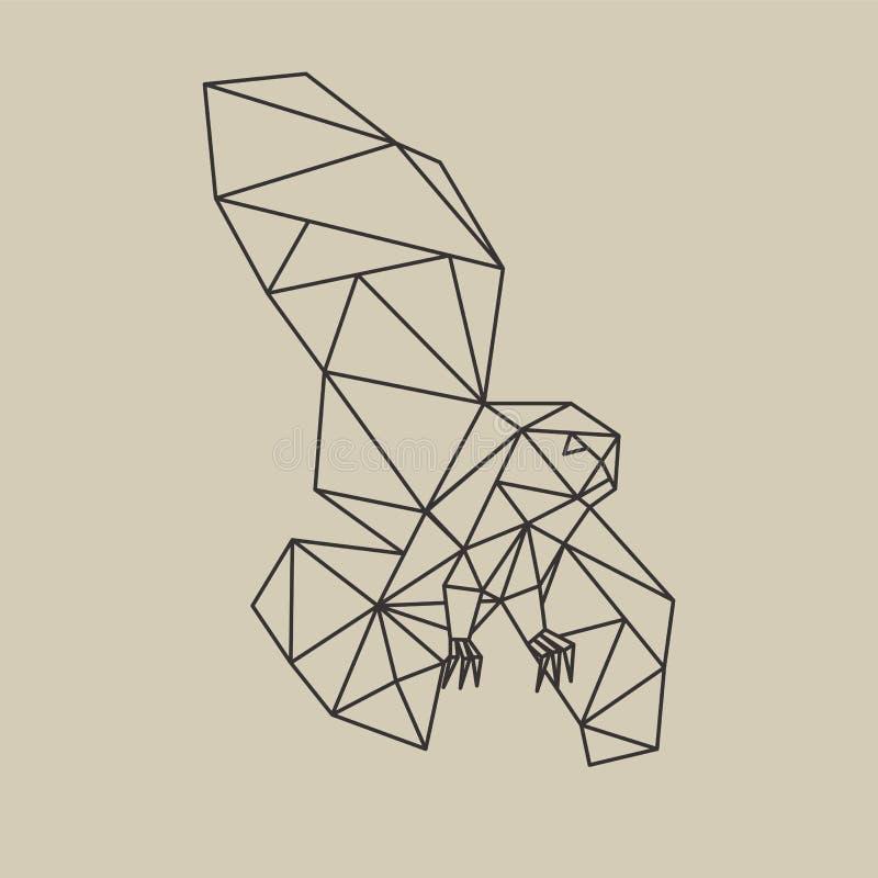 Linha poligonal coruja do origâmi do voo do estilo Ilustração do vetor ilustração stock