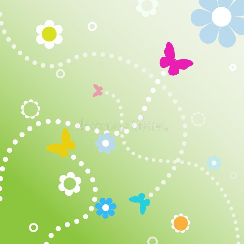 Linha pontilhada flores de BuButterflies da mola dos trajetos ilustração stock
