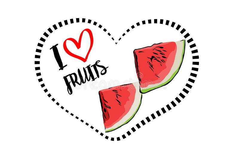 Linha pontilhada forma do coração do preto com os desenhos animados tirados duas partes triangulares da melancia fresca dentro do ilustração royalty free