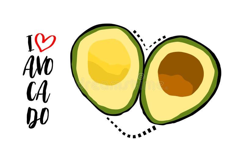 Linha pontilhada preta coração com as duas partes de fruto de abacate isoladas no fundo branco ilustração do vetor