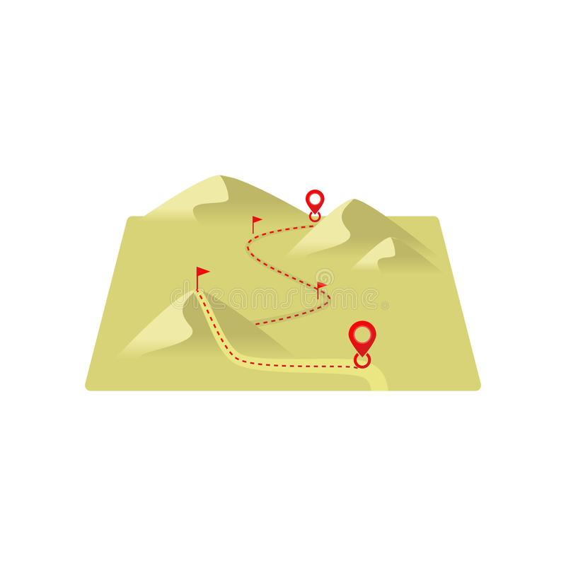 Linha pontilhada rota ao destino através das dunas de areia com marcas ilustração royalty free