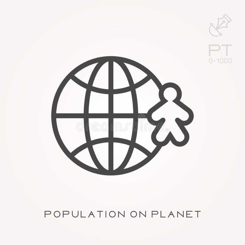Linha população do ícone no planeta ilustração do vetor