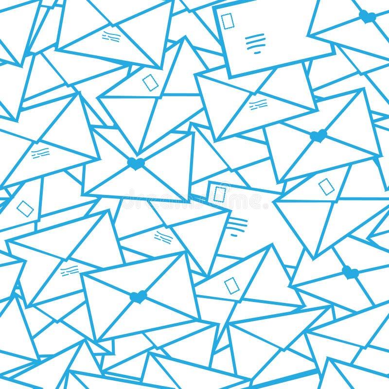 Linha postal teste padrão sem emenda dos envelopes das letras da arte ilustração do vetor