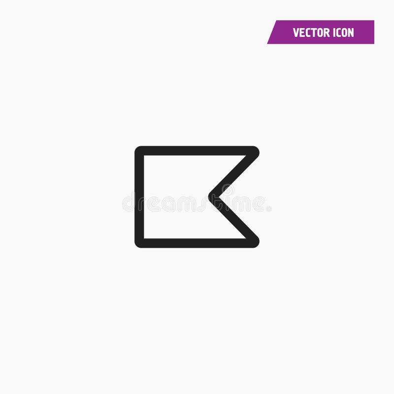 Linha preta ícone da bandeira com cantos da forma do triângulo ilustração do vetor