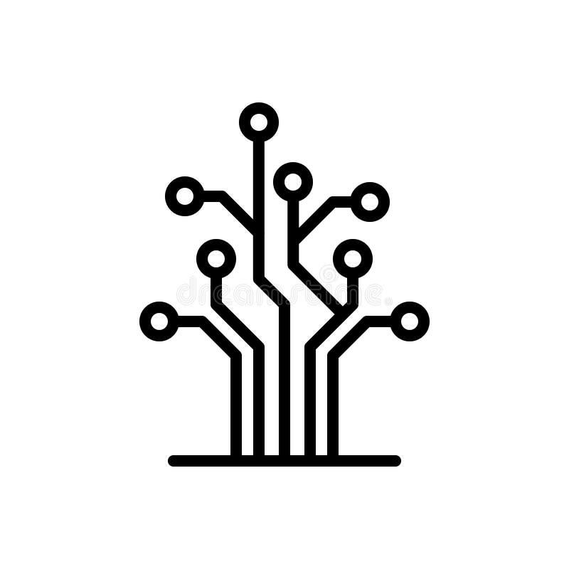 Linha preta ícone para a árvore, a rede e o circuito ilustração do vetor