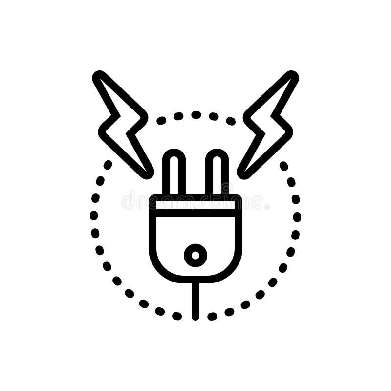 Linha preta ícone para a alta tensão, a resistência e a oposição ilustração royalty free