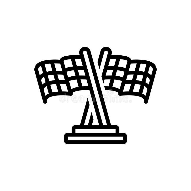 Linha preta ícone para a bandeira, a competição e a disputa da raça ilustração do vetor