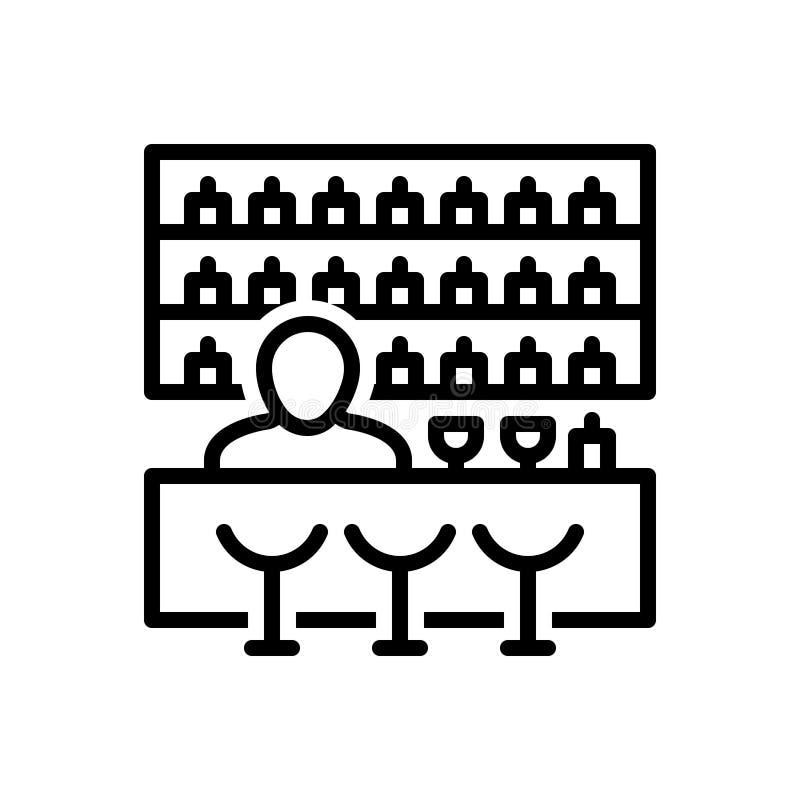Linha preta ícone para a barra, o ataque e o bar ilustração royalty free