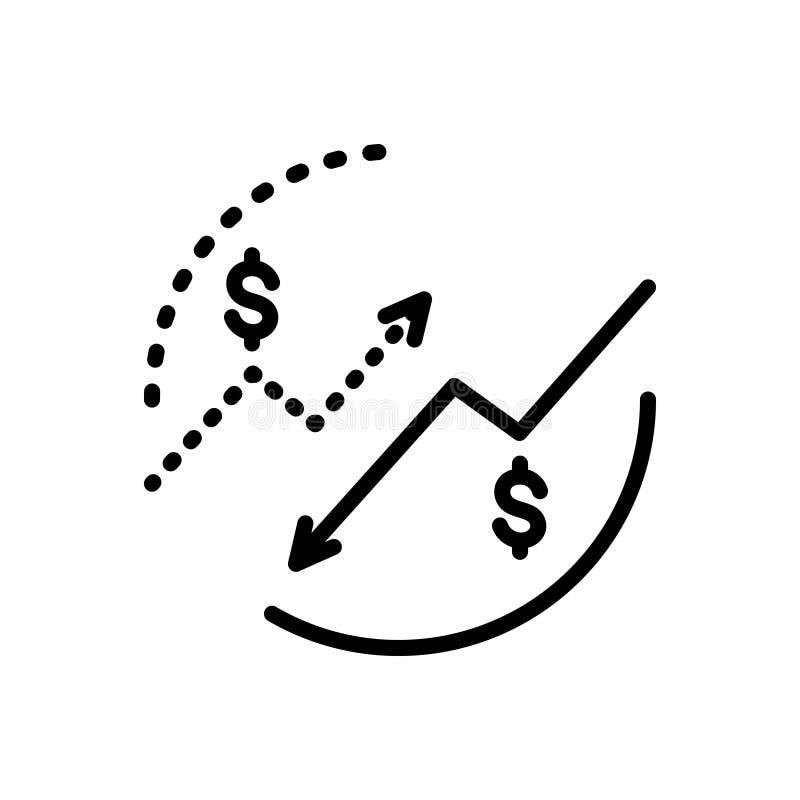 Linha preta ícone para Bearish, a queda e a lentidão ilustração stock