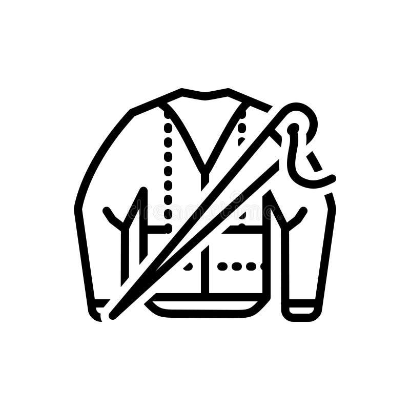 A linha preta ícone para Bespoke, forma e veste-se ilustração do vetor