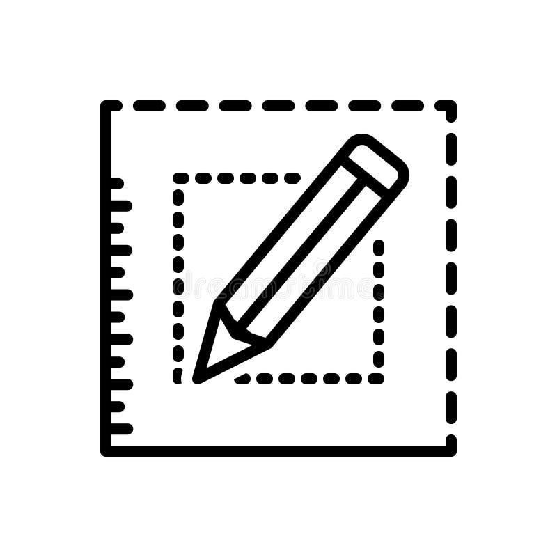 A linha preta ícone para Bespoke, pede e escreve ilustração do vetor