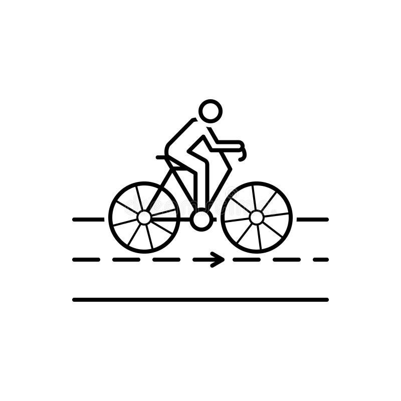 Linha preta ícone para a bicicleta, a estrada e o ciclista ilustração stock