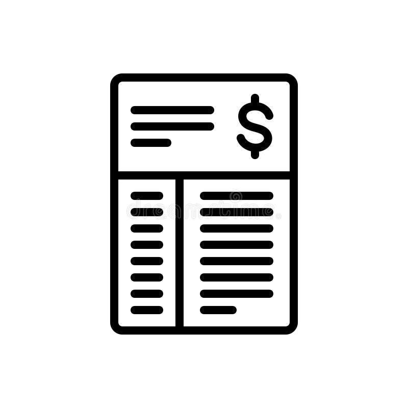 Linha preta ícone para Bill, documento e aplicação ilustração do vetor