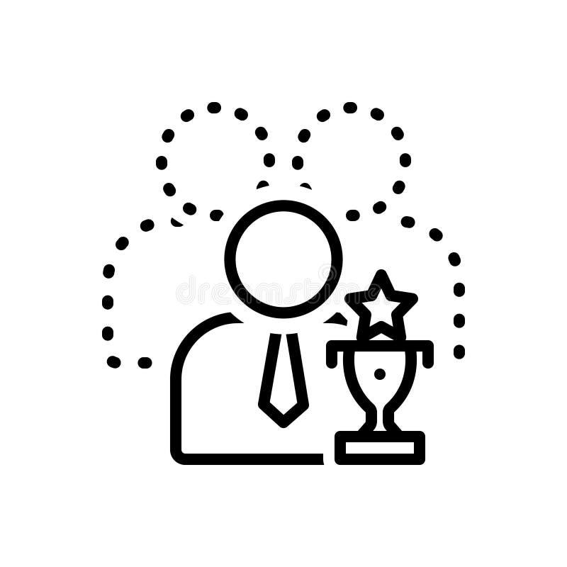 Linha preta ícone para capaz, competente e elegível ilustração stock