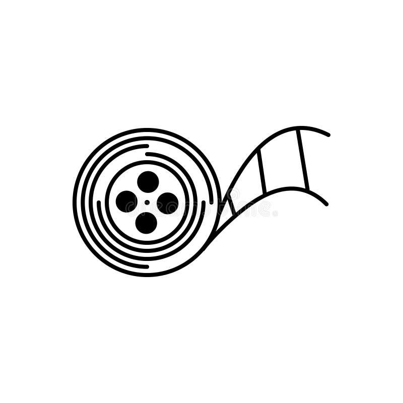 Linha preta ícone para carretéis, armazenamento e carretéis do programa demonstrativo ilustração royalty free