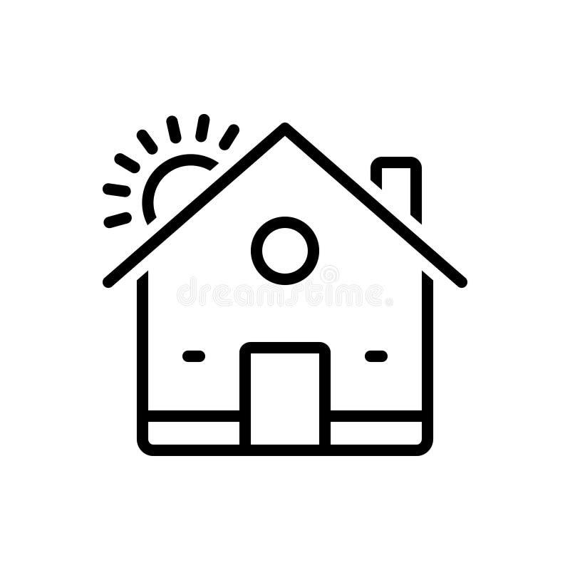 Linha preta ícone para a casa, a residência e a herdade ilustração do vetor