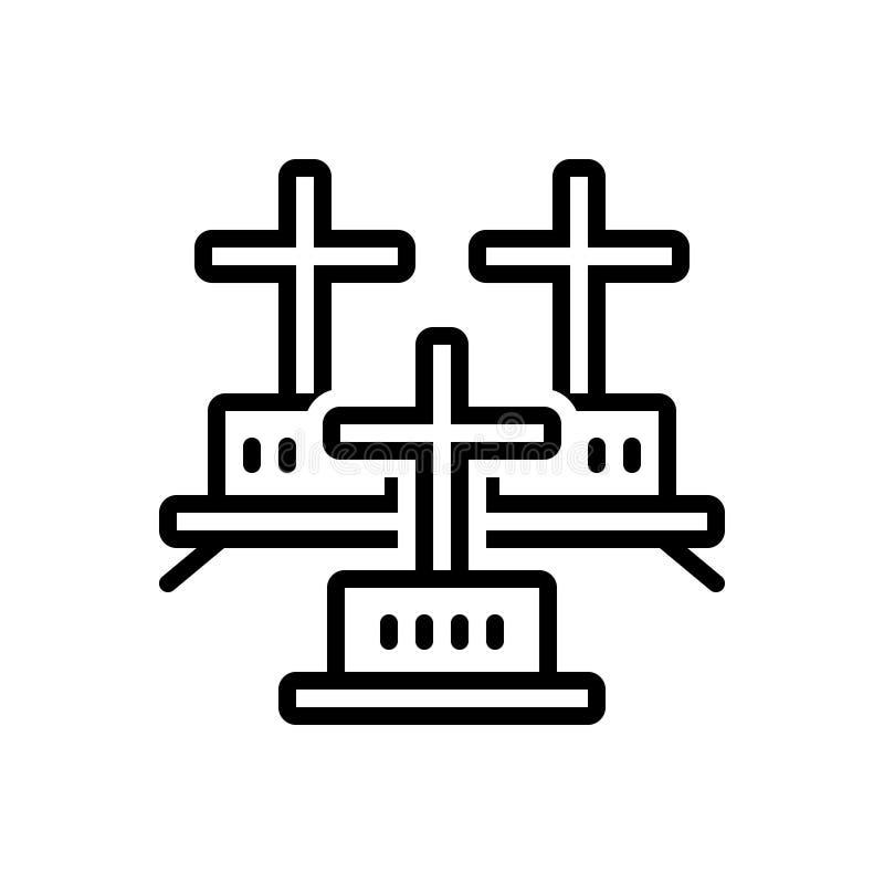 Linha preta ícone para cemitérios, cemitério e sheol ilustração royalty free