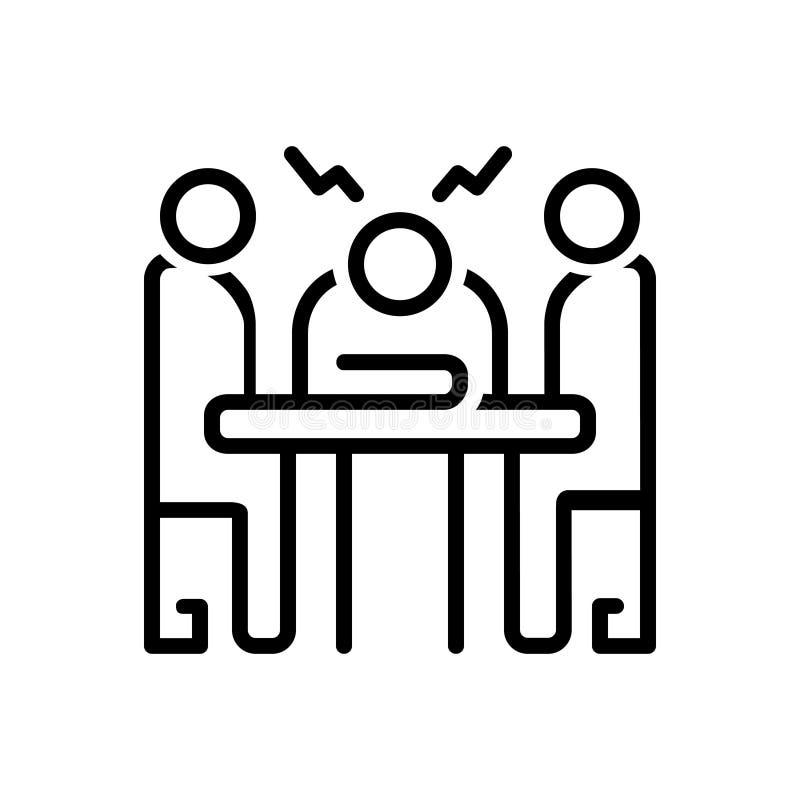 Linha preta ícone para a circunstância, a situação e os circs ilustração royalty free