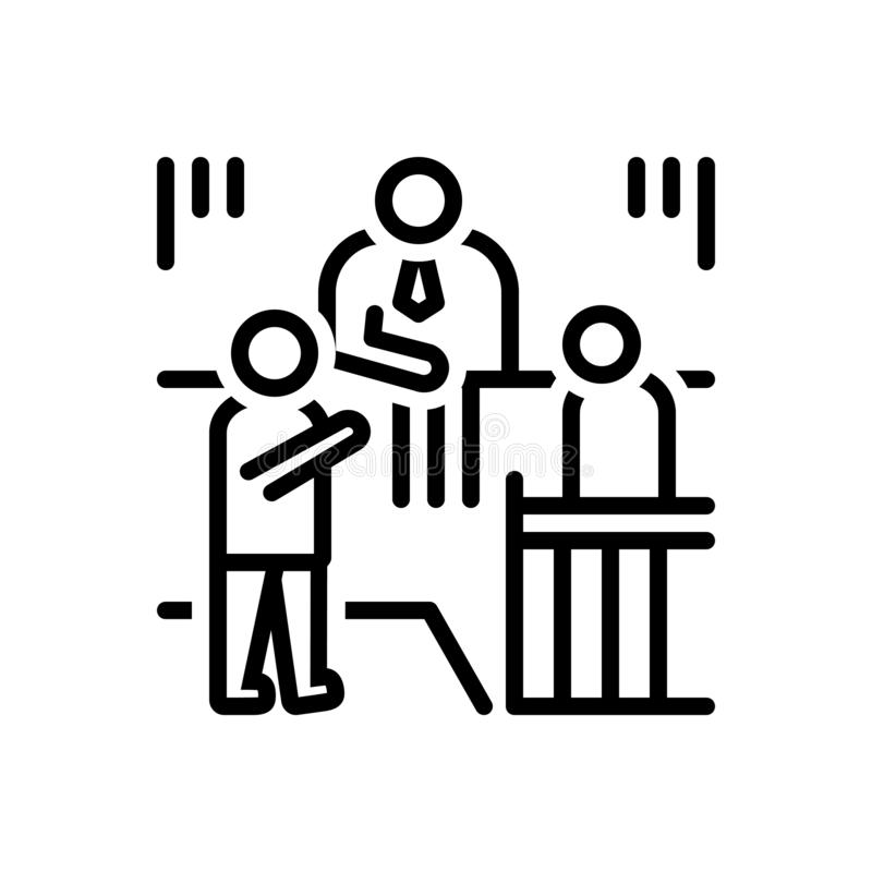 Linha preta ícone para a circunstância, a situação e os circs ilustração stock
