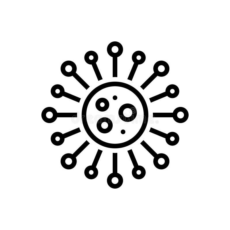 Linha preta ícone para a clamídia, os trachomatis e o átomo ilustração royalty free