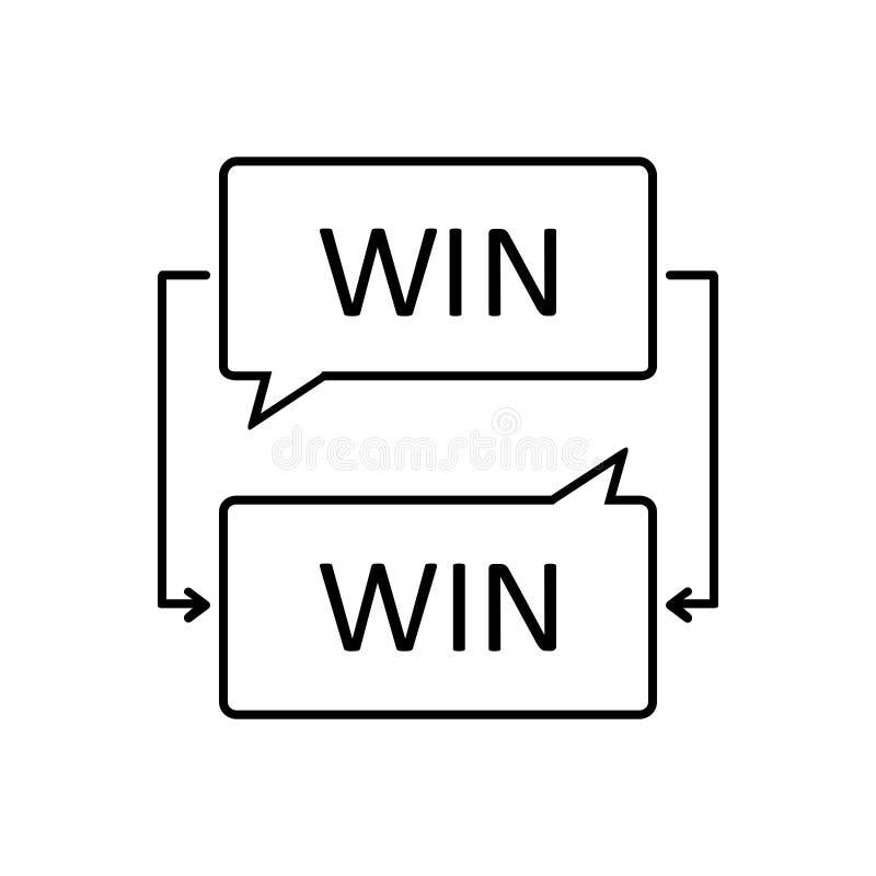 Linha preta ícone para Collaborate, a negociação e a vitória ilustração do vetor