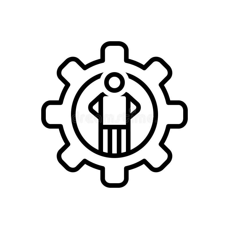 Linha preta ícone para a competência, a competência e o mightiness ilustração stock