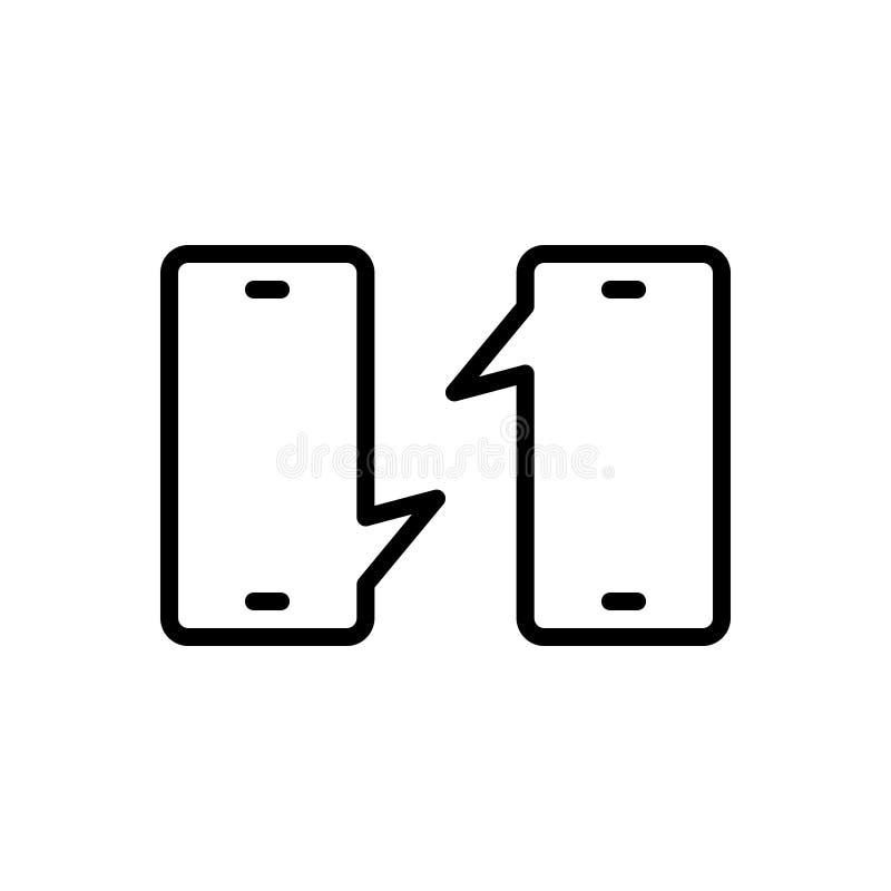 Linha preta ícone para a conversação, a observação e a questão ilustração do vetor