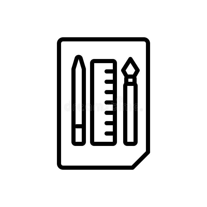 Linha preta ícone para esboçar ferramentas, lápis e pena ilustração do vetor
