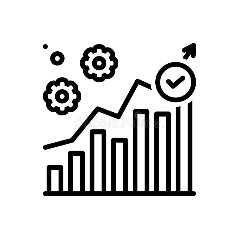 Linha preta ícone para a execução, a gestão e o comércio ilustração royalty free