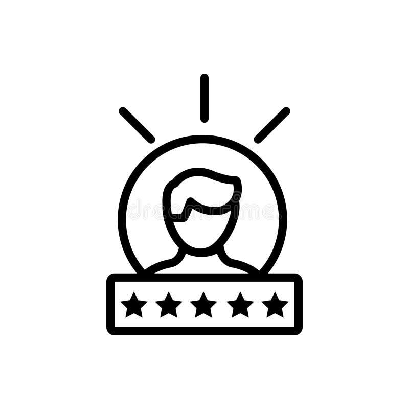 Linha preta ícone para a experiência, o feedback e a homenagem ilustração do vetor