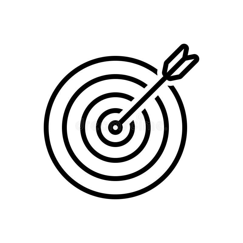 Linha preta ícone para a finalidade, o objetivo e o alvo ilustração do vetor