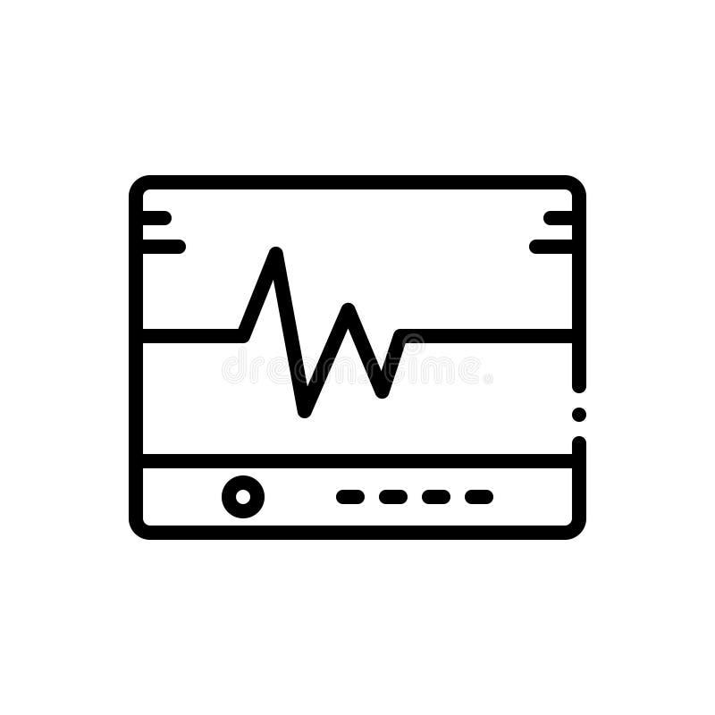 Linha preta ícone para Flatlining, corda de salvamento e ecg ilustração do vetor