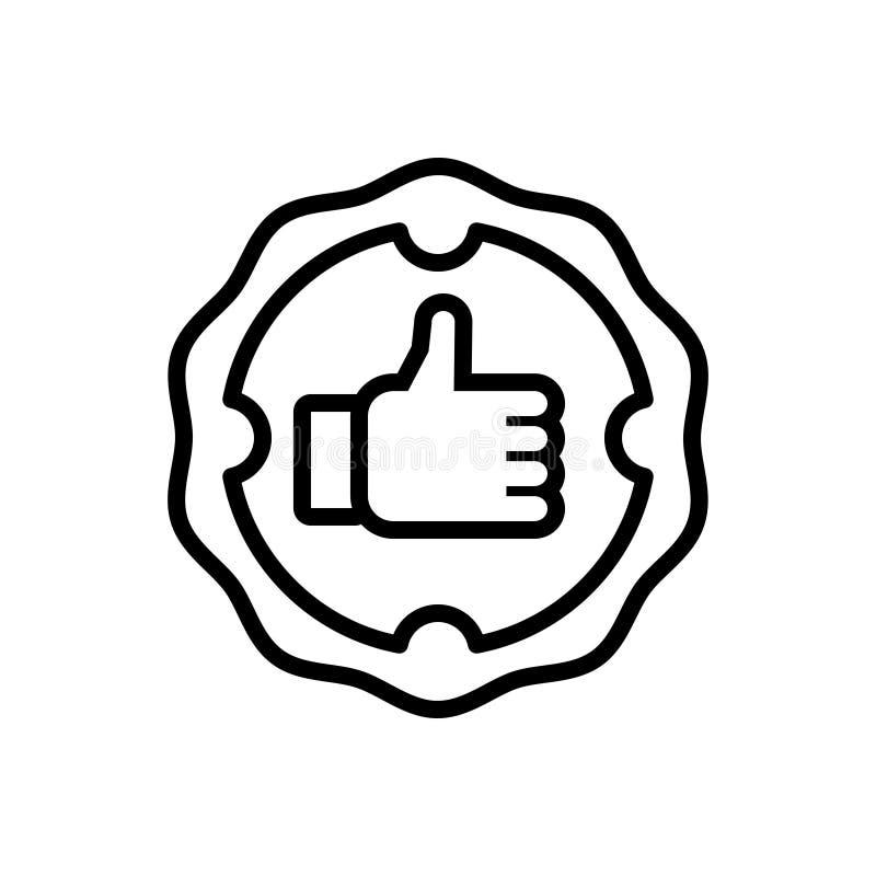 Linha preta ícone para a garantia, seguro e a garantia ilustração stock