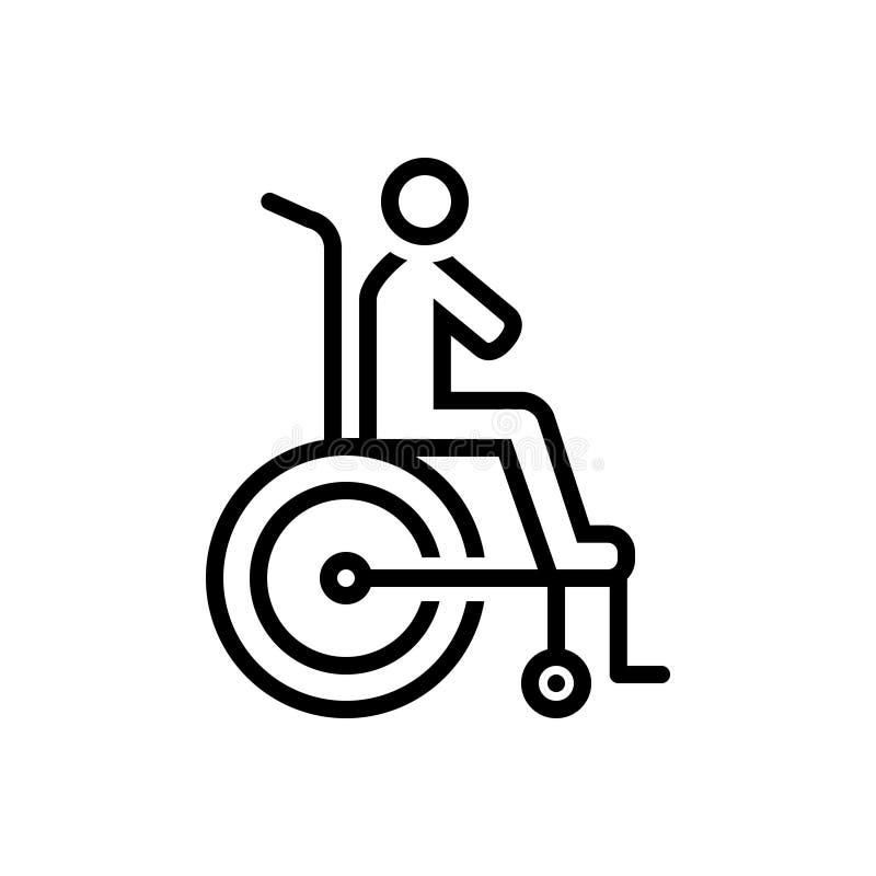 Linha preta ícone para a inabilidade, razoável e a acomodação ilustração do vetor