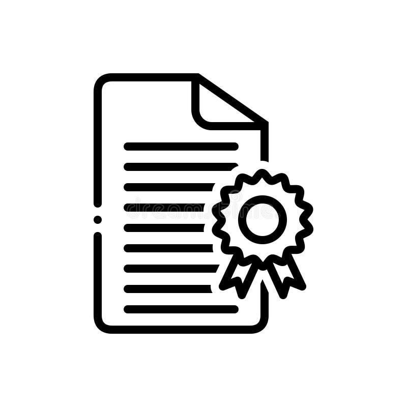 Linha preta ícone para licenciar, certificados e documento ilustração stock
