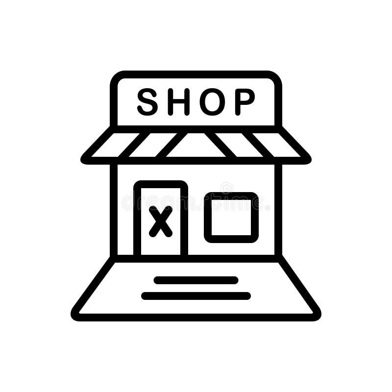 Linha preta ícone para a loja, o retalho e a loja Closed ilustração stock