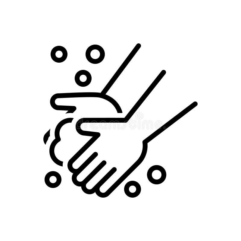 Linha preta ícone para a mão da lavagem, a lavagem e o hygience ilustração do vetor