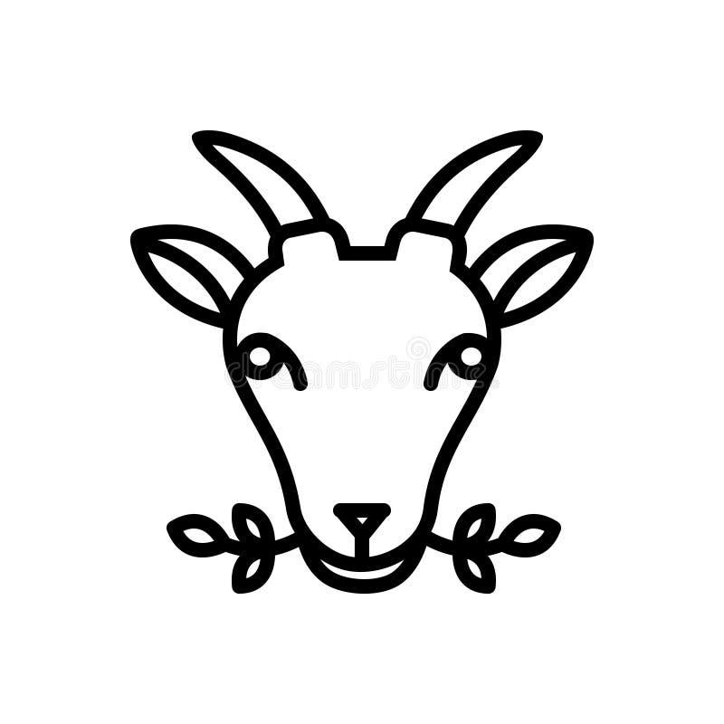 Linha preta ícone para Masticate, ervas e animal ilustração stock