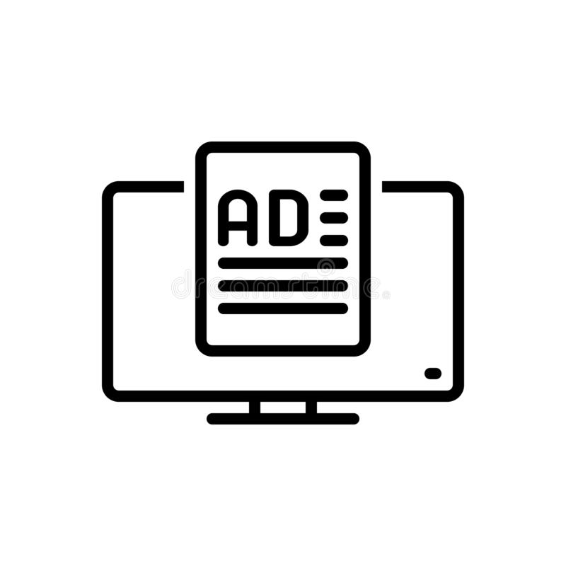 Linha preta ícone para meios, aplicação e anúncio do anúncio ilustração royalty free