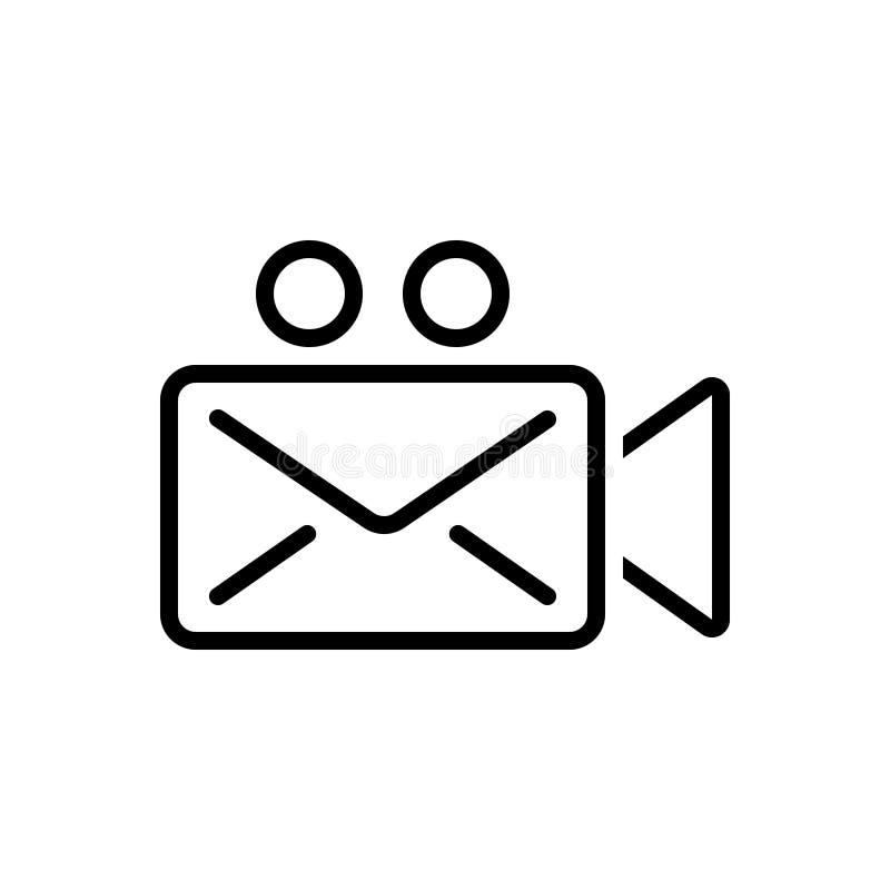 Linha preta ícone para a mensagem, a aplicação e a ripa video ilustração do vetor