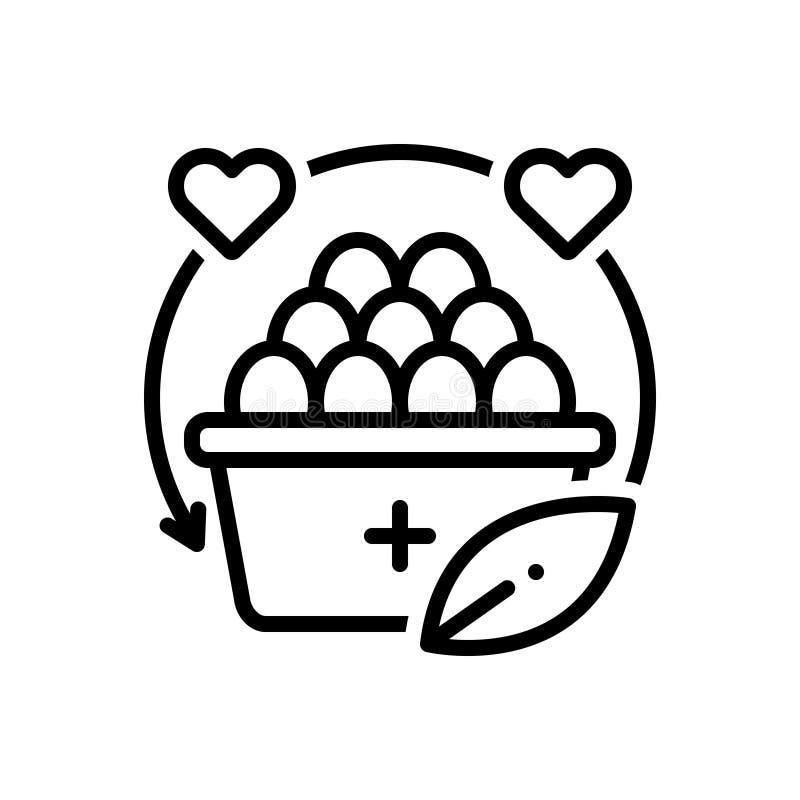 Linha preta ícone para a nutrição, a dieta e o saudável ilustração do vetor