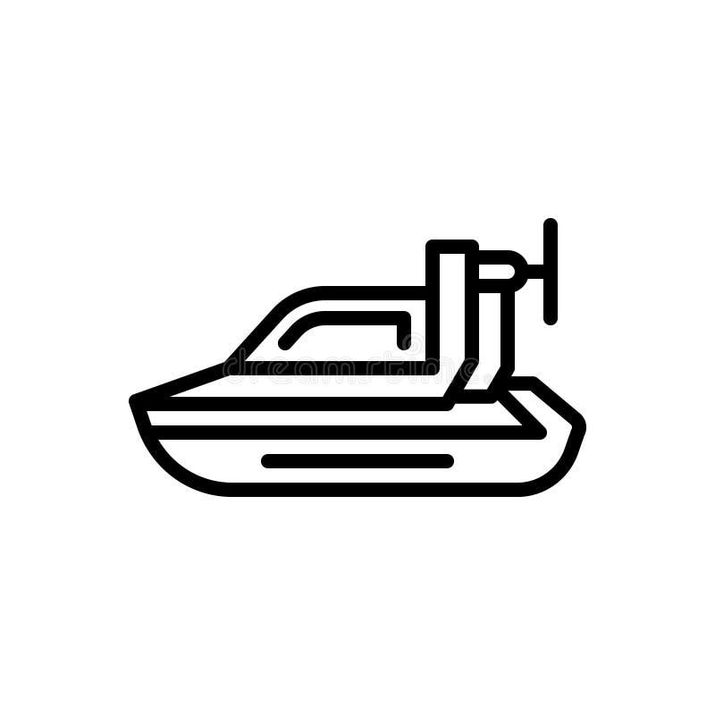Linha preta ícone para o aerodeslizador pessoal, o pairo e a bicicleta ilustração royalty free